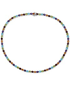 Multi-Gemstone Link Necklace (30 ct.t.w) in Sterling Silver