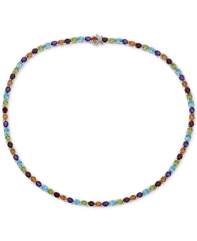 Macy's Multi-Gemstone Link Necklace (30 ct.t.w) in Sterling Silver