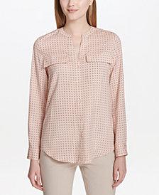 Calvin Klein Split-Neck Printed Top
