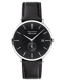 LIMITED EDITION  Men's Swiss Heritage Series Calendoplan Black Leather Strap Watch 40mm, Created for Macy's - A Limited Edition