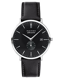 LIMITED EDITION Movado  Men's Swiss Heritage Series Calendoplan Black Leather Strap Watch 40mm, Created for Macy's - A Limited Edition