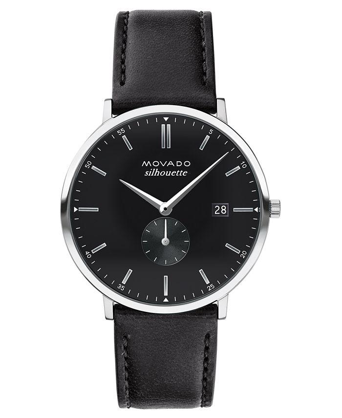 Movado - Swiss Heritage Series Calendoplan Black Leather Strap Watch 40mm