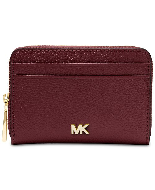 4d2f7fe74404 Michael Kors Zip-Around Pebble Leather Coin & Card Case ...