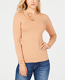 GUESS Long-Sleeve Cutout Hardware Top