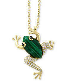"EFFY® Malachite (14 x 8mm) & Diamond (1/6 ct. t.w.) Frog 18"" Pendant Necklace in 14k Gold"