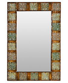 "36"" Embossed Metal Frame Wall Mirror"
