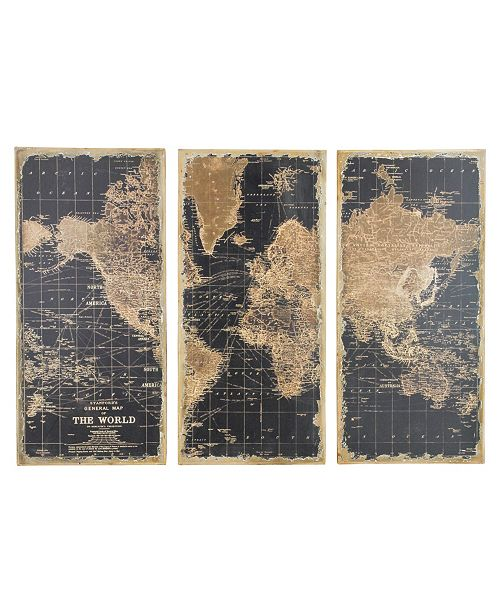 Aspire Home Accents Stanford World Map Wall Decor (Set of 3)