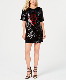 GUESS Untamed Sequin T-Shirt Dress
