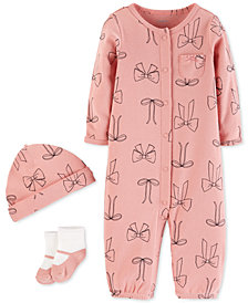 Carter's Baby Girls 3-Pc. Bow-Print Layette Set