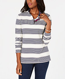 Charter Club French Terry Striped Henley Top, Created for Macy's