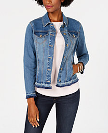 Charter Club Frayed-Trim Jean Jacket, Created for Macy's