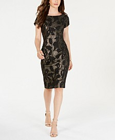 Metallic Leaf Sheath Dress