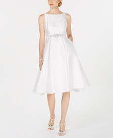 Adrianna Papell Embellished-Belt Fit & Flare Dress