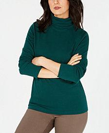 Karen Scott Long-Sleeve Cotton Turtleneck, Created for Macy's