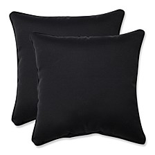 "Fresco Black 18.5"" Throw Pillow, Set of 2"