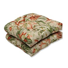 Botanical Glow Tiger Stripe Wicker Seat Cushion, Set of 2