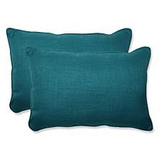 Rave Teal Over-sized Rectangular Throw Pillow, Set of 2