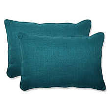 Rave Teal Over-sized Rectangular Throw Pillow, Set of 2