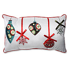 Holiday Ornaments Red/Green Rectangular Throw Pillow