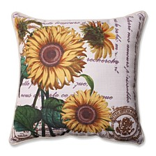 "Three Sunflowers Beige 16.5"" Corded Throw Pillow"