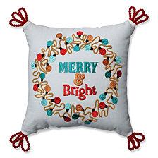 "Christmas Lights Wreath Red-Aqua 11.5"" Throw Pillow"