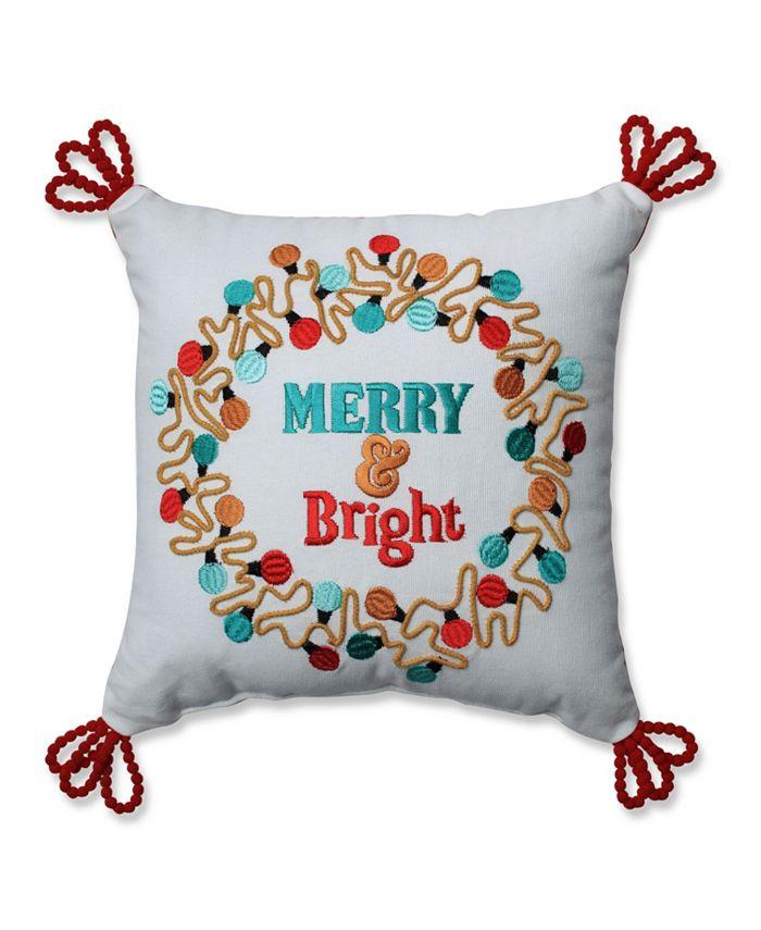 Pillow Perfect - Christmas Lights Wreath Red-Aqua 11.5-inch Throw Pillow