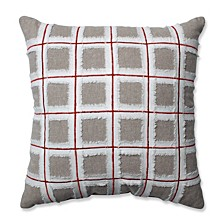 """Country Home Grid Red/Biscuit 15.5"""" Throw Pillow"""