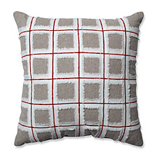 "Country Home Grid Red/Biscuit 15.5"" Throw Pillow"