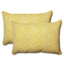 Herringbone Egg Yolk Over-sized Rectangular Throw Pillow, Set of 2