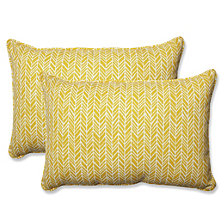Herringbone Egg Yolk Over-sized Rectangular Throw Pillow, Set of 2