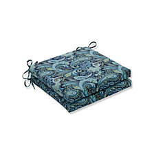 Pretty Paisley Navy Squared Corners Seat Cushion, Set of 2