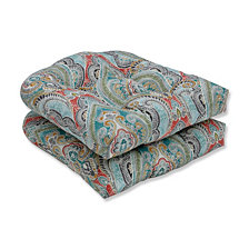 Pretty Witty Reef Wicker Seat Cushion, Set of 2