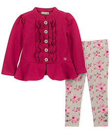 Calvin Klein Little Girls 2-Pc. Fleece Jacket & Leggings Set