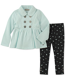 Calvin Klein Toddler Girls 2-Pc. Bow-Trim Fleece Jacket & Printed Leggings Set