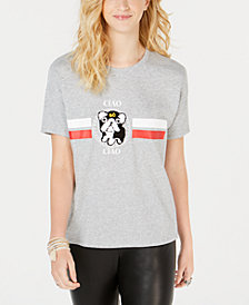Rebellious One Juniors' Ciao Chenille-Patch Graphic T-Shirt