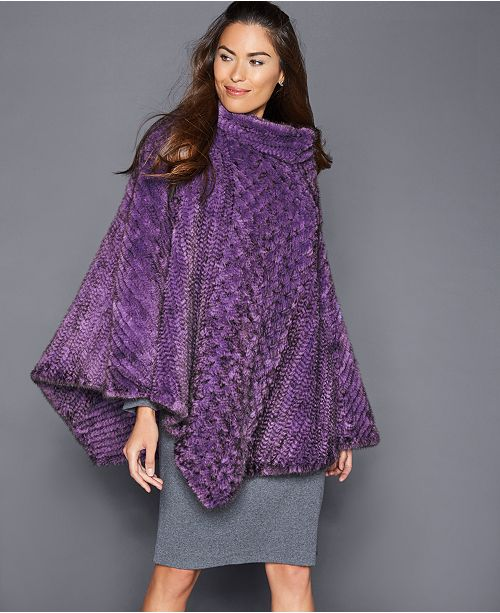 The Fur Vault Mink Fur Poncho