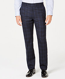 Calvin Klein Men's Slim-Fit Stretch Navy Plaid Suit Pants