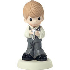 May His Light Shine In Your Heart Boy First Communion Figurine