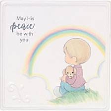 May His Peace Be With You Boy With Rainbow Wall Plaque