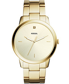 Fossil Men's Minimalist Carbon Series Diamond Gold-Tone Stainless Steel Bracelet Watch 44mm