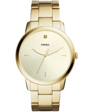 Image of Fossil Men's Minimalist Carbon Series Diamond Gold-Tone Stainless Steel Bracelet Watch 44mm