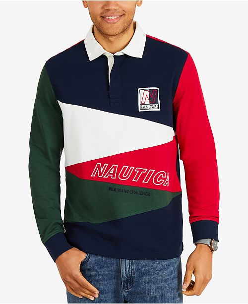 409c68d3edc520 ... Nautica Men s Colorblocked Long-Sleeve Rugby