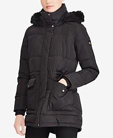 Lauren Ralph Lauren Anorak Coat with Faux Fur Trim