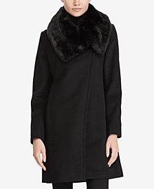 Lauren Ralph Lauren Faux-Fur-Collar Asymmetrical Coat