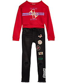 GUESS Big Girls Cropped Sweatshirt & Jeans