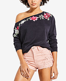 GUESS Shirley Embroidered Off-The-Shoulder Cotton Sweatshirt