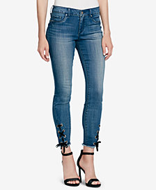 Jessica Simpson Juniors' Kiss Me Lace-Up Ankle Skinny Jeans