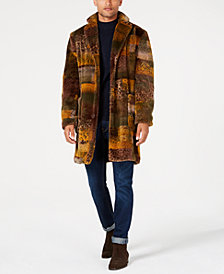 Tallia Men's Slim-Fit Leopard Faux-Fur Overcoat