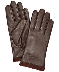 Micro Faux Fur Lined Leather Tech Gloves, Created for Macy's