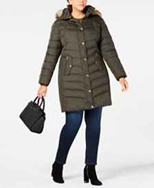 MICHAEL Michael Kors Plus Size Hooded Faux-Fur-Trim Puffer Coat, Created For Macy's